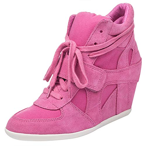 Caché Confort Tennis Mode Chaussures Rose Rismart Boucle Compensé Crochet Talon Femmes Baskets w6HUI