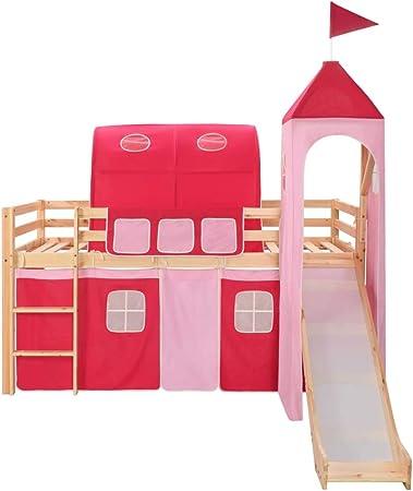 Letti A Castello Con Lo Scivolo.Tidyard Letto A Castello Per Bambini Scivolo E Scala Per Bambini