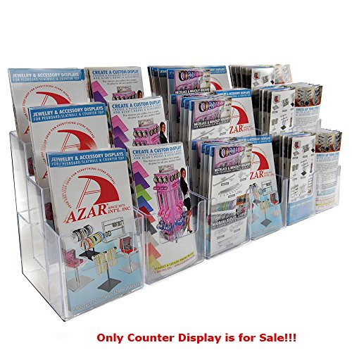 """Clear 18 Pockets 3 Tier Tri-Fold Brochure Counter Display 36""""Wx5.375""""Dx9.125""""H"""