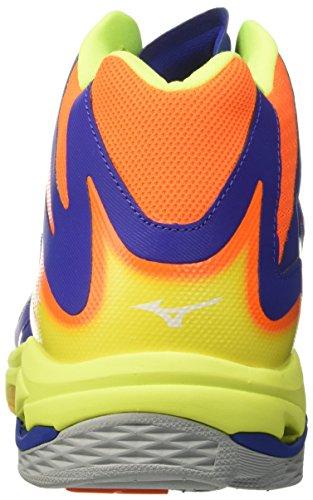 Mizuno Wave Lightning Z3 Mid - Scarpe da Pallavolo Volley, Uomo Multicolore (Surf The Web/White/Orange Clown Fish)