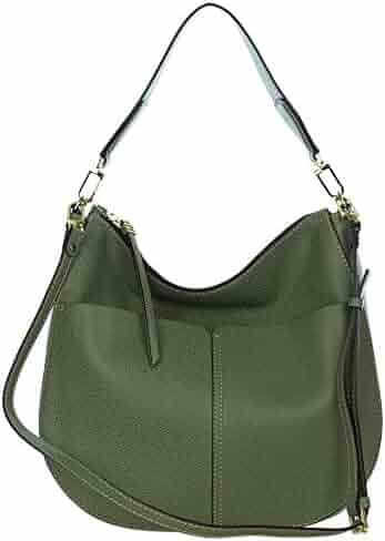 39ae323c10de Gianni Chiarini Italian Made Moss Green Pebbled Leather Large Front Pockets  Hobo Bag