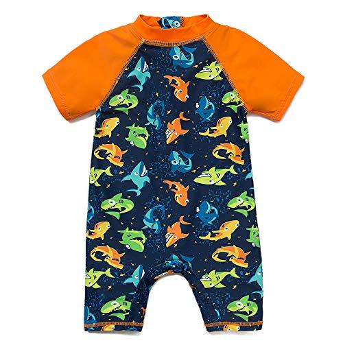 Bonverano(TM Baby boy UPF 50+ Sun Protection S/S One Piece Kids Sunsuit with Zipper (Shark3, 4T)