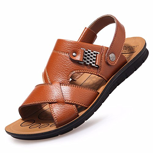 Sommer Das neue Männer Freizeit Sandalen Männer Atmungsaktiv Gemütlich Strand Schuh Echtleder Sandalen ,Gelb,US=9.5,UK=9,EU=43 1/3,CN=45