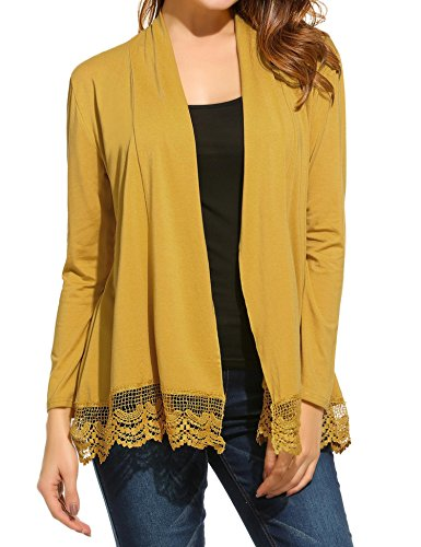 ELESOL Women's Elegant Lace Patchwork Long Sleeve Open Front Cardigan Sweater Yellow M - Patchwork Duster