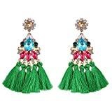Bohemian Statement Thread Tassel Chandelier Drop Dangle Earrings for Women Novetly 1 Pairs Green NABROJ with Gift Box-ER02 Colorful and Green