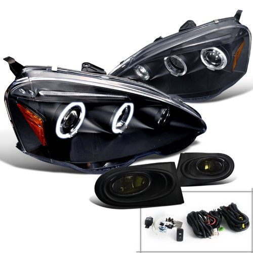 Acura RSX Black Dual Halo LED Projector Headlights+Smoke Fog ()
