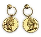 Handmade Unique Vintage Boho Gypsy Coin Disc Dangle Drop Statement Earrings for Women, Gold Plated