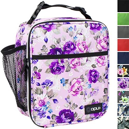 OPUX Premium Insulated Lunch Box | Soft Leakproof School Lunch Bag for Girls | Durable Reusable Work Lunch Pail Cooler for Adult Women, Office Fits 6 Cans (Purple Floral)