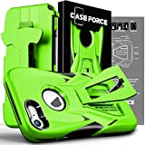 CASE Force Cell Phone Case Compatible with iPhone 8/7 [Velocity Series] for Girls Women Men, Kickstand Heavy Duty Military Grade Drop Protection Holster with Belt Clip (Neon Green/Black)