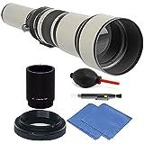Bower 650-1300mm f/8-16 Telephoto Lens for Nikon D3000 D3400 D3300 D3200 + 2X Converter