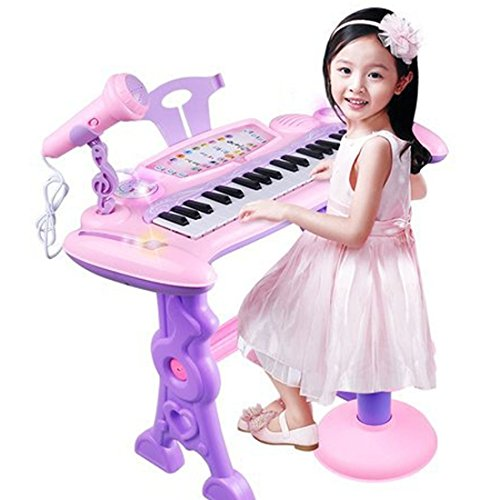 Yamix Kids Piano, 37 Key Kids Electronic Keyboard Piano Children's Musical Instrument Toy Keyboard Playset Kids Early Learning Educational Microphone Stool, Pink