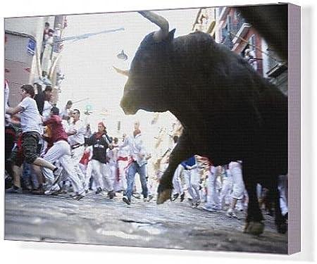 Impresión de Lienzo de Running of the bulls (encierro), San fermín festival, Pamplona, Navarra, España: Amazon.es: Hogar