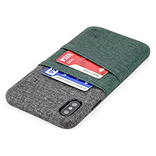 Dockem Luxe M2 Wallet Case for iPhone Xs Max: Built-in Invisible Metal Plate, Designed for Magnetic Mounting: Slim Canvas Style Synthetic Leather Card Case: M-Series [Dark Green and Grey]