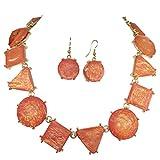 Iridescent Orange Foil Multi Shaped Bib Statement Necklace & Dangle Earrings Set
