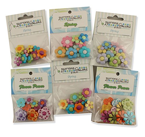 Buttons Galore FLOWERPOWERGROUP Flower Power Button Theme Pack - Set of 6 by Buttons Galore