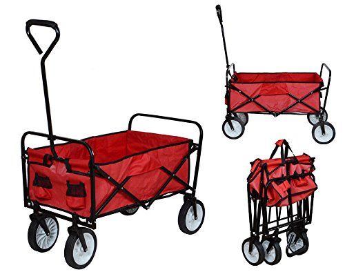 Kleanco Home It - Folding Utility Wagon Collapsible Garden Cart Shopping Beach Toy Sports Cart Red ()