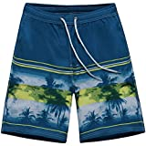 Trendy XU Mens Printing Quick Dry Swimwear Shorts Drawstring Beach Short Pants (Blue, 4XL)