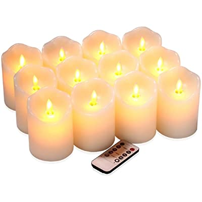 "qinxiang Flameless Candles Flickering LED Candles Set of 12 (D:3"" X H:4"") Ivory Real Wax Pillar Battery Operated Candles with Dancing LED Flame 10-Key Remote and Cycling 24 Hours Timer: Home Improvement"