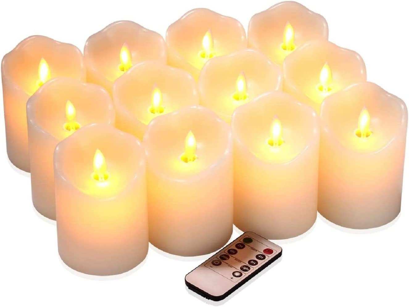 qinxiang Flameless Candles Flickering LED Candles Set of 12 D 3 X H 4 Ivory Real Wax Pillar Battery Operated Candles with Dancing LED Flame 10-Key Remote and Cycling 24 Hours Timer