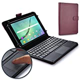 Cooper TOUCHPAD Executive Keyboard case 8'' - 8.9'' inch Tablets | 2-in-1 Bluetooth Wireless Keyboard Touchpad & Leather Folio Cover | Touchpad Mouse, Stand, 100HR Battery, 14 Hotkeys, Purple