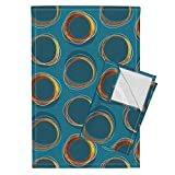 Roostery Solar Tea Towels Eclipse Mid Century Gold Circles Mia by Mia Valdez Set of 2 Linen Cotton Tea Towels