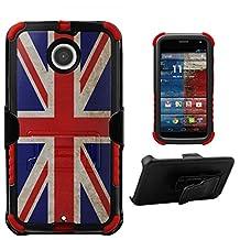 Tri Shield Kombo For Motorola Moto X 2nd Gen Case Belt Clip Holster Kickstand Heavy Duty Armor Shock Proof Screen protector Union Jack British Flag