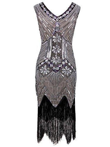 f8439be27963 Vijiv Women 1920s Gastby Sequin Art Nouveau Embellished Fringed Flapper  Dress