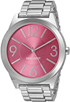 Nine West Women's NW/1585PKSB Hot Pink Dial Silver-Tone Bracelet Watch