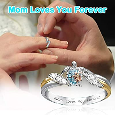 Fashion Zircon Diamond Ring for Mom, Cnebo Personalized Letter Mom Loves You Forever Jewelry Gift for Mother's Day,Wedding Accessories: Sports & Outdoors