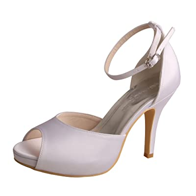 Wedopus MW740 Women's Peep Toe High Heel Platform Satin Ankle Strap D'Orsay Wedding Bridal Shoes Sandals | Heeled Sandals