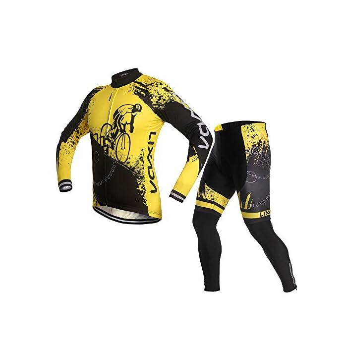 Lixada Maillot Ciclismo Hombres Manga Largo y Pantalones Ajustados 3D Acolchado Forro Térmico de Lana Anti-Viento Invierno/Otoño/Primavera