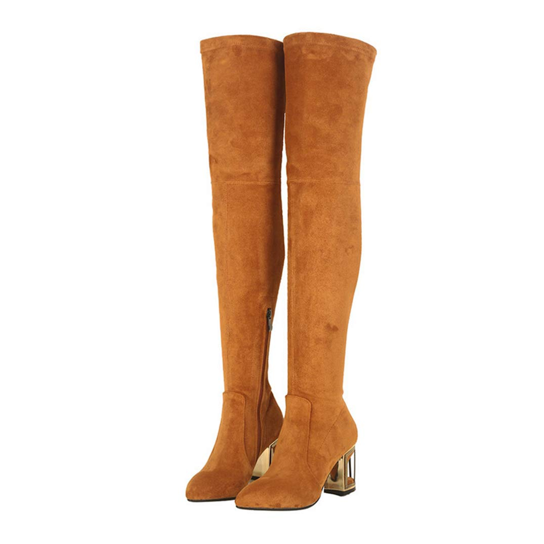 Yellow GEORPE Fashion Woman Pointed Toe Over The Knee Boots Suede Leather High Heels Boots