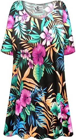 Tropical Flowers Slinky Plus Size Supersize Extra Long A-Line Top