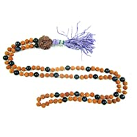 Tibetan Prayer Mala Beads Rudraksha Black Onyx 108 Meditation Rosary Necklace, Holiday Idea