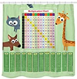 Sunlit Multiplication Chart Shower Curtain Set Green, PVC Free, Non-Toxic and Odorless Water Repellent Fabric. Math Tool with Cat Dog Giraffe for Smart Kids.