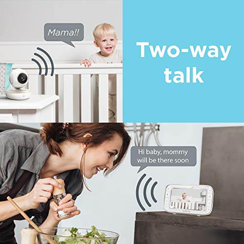 51JrIOAm BL - Motorola Video Baby Monitor - 2 Wide Angle HD Cameras With Infrared Night Vision And Remote Pan, Tilt, Zoom - 5-Inch LCD Color Display With Split Screen View, Room Temperature And Sound Alert MBP50-G2