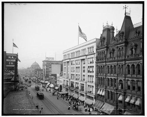 Photo: Main Street,buildings,electric cars,crowds,pedestrians,Buffalo,New York,NY,c1904