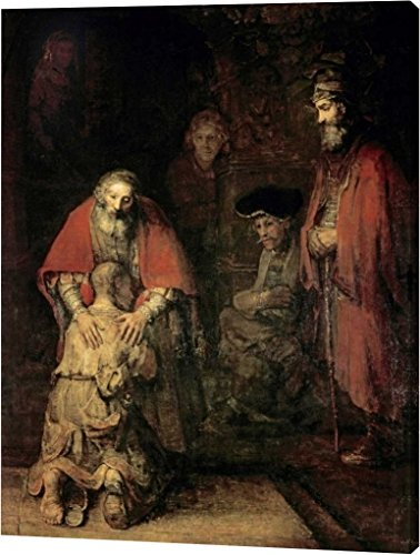 Return of The Prodigal Son by Rembrandt Van Rijn - 24''x32'' Gallery Wrapped Giclee Canvas Art Print - Ready to Hang by Canvas Art USA