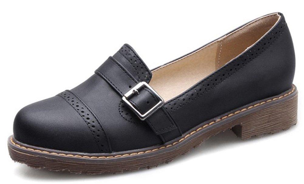 IDIFU Women's Classic Low Top Slip On Low Chunky Heels Brogues Oxfords Wear to Work Shoes Black 8 B(M) US