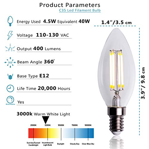 Dimmable B11 E12 LED Candelabra Base Bulbs – 4 Filament Vintage Style - 4.5 Watt Equivalent 40W Incandescent Bulb - Warm White 3000K - Chandelier led Night Bulbs – Clear - Pack of 12