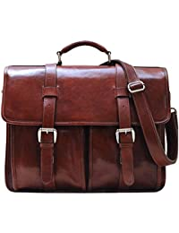 Firenze Leather Buckle Strap Briefcase Bag - 2 Gusset … (Vecchio Brown)