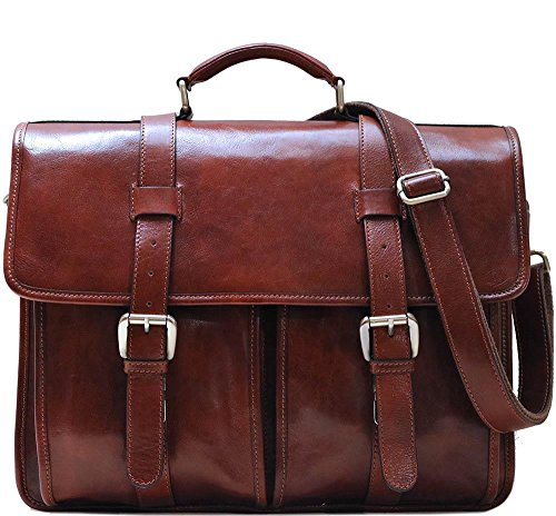 Floto Firenze Leather Buckle Strap Briefcase Bag - 2 Gusset ... (Vecchio Brown)