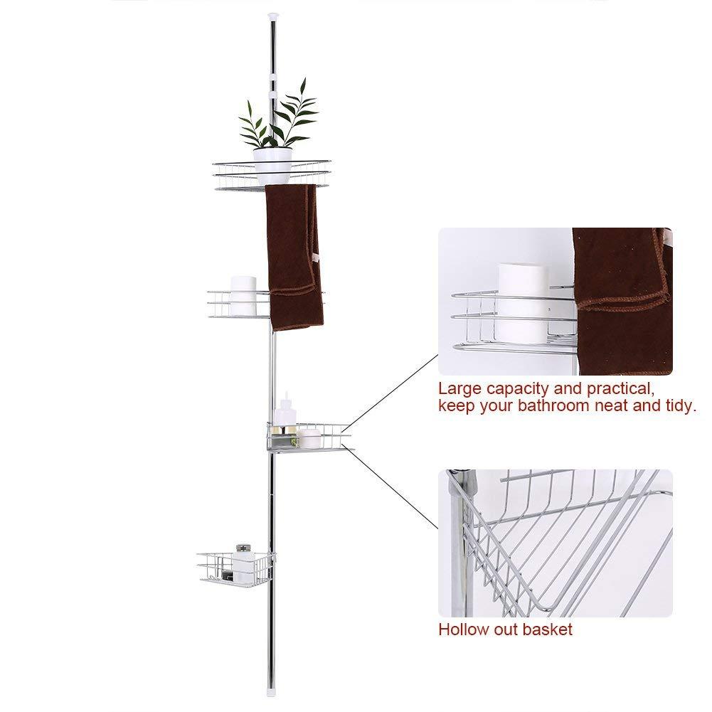 Greensen Teleskop Duschregal Eckregal mit 4 Ablagen Duschecke Badregal Duschablage Duscheckregal Badewannenregal aus Edelstahl H/öhenverstellbar von 190-310 cm Ohne Bohren