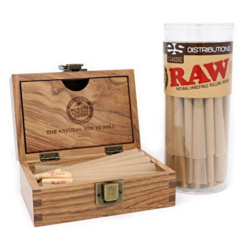 RAW Classic King Size Pre-Rolled Cones with Filter Tips - Bundle (50 Pack and RAW Storage Box)