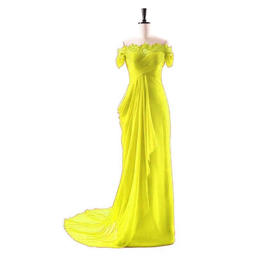 gold Dydsz Women's Evening Party Dresses Mermaid Long Prom Dress Off Shoulder Lace D275