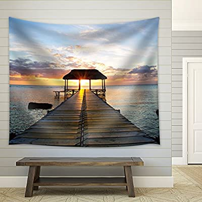 Sun Setting Over a Jetty Leading to a Kiosk Over The Ocean - Fabric Tapestry, Home Decor - 51x60 inches