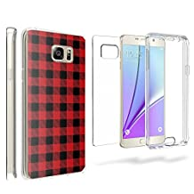 Tri Max For Samsung Galaxy Note 5 360 Full Body TPU Scratch Resistant PC Transparent Clear Red Flannel
