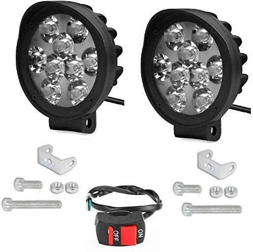 9 LED 27W Round Cap Fog Light Pair with Normal Switch for Bikes and Cars (2 Unit Light and 1 Unit Switch), White Light