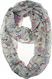 Vivian & Vincent Soft Light Weight Cartoon Owl Sheer Infinity Scarf Alt Gray