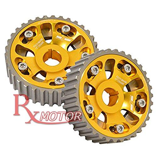 Rxmotor Integra Civic B16A DOHC Crank Pulley Lightweight Pro Series Adjustable Cam Gears High Performance Pair (Gold) (Dohc Gears Series Cam)